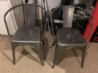 Two Metal Dining Chairs