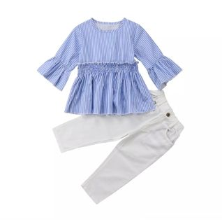 NWOT Blue and White Outfit, Size 100 (3T-4T)