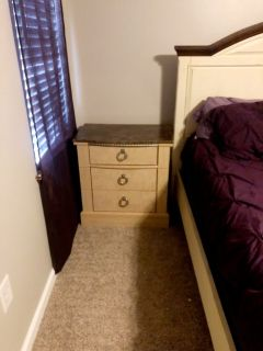 king size bed, mattress, box spring, dresser, two night stands