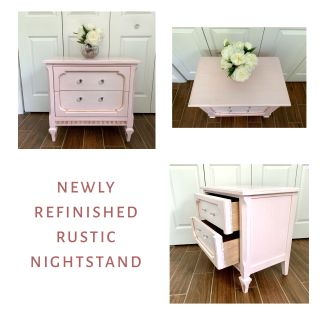 Newly refinished rustic glam pink champagne wood nightstand with two drawers