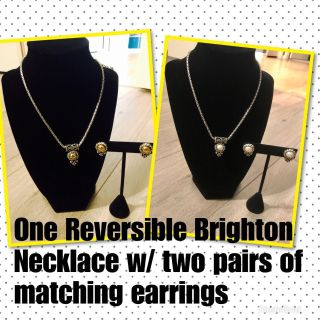 Brighton Reversible Necklace with two pair of matching earrings.