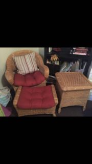 Wicker chair, ottoman, and side table