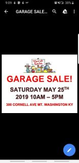 Mt Washington Area Garage Sale! Saturday May 25th 10am!!!