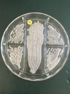Glass Etched Relish Tray