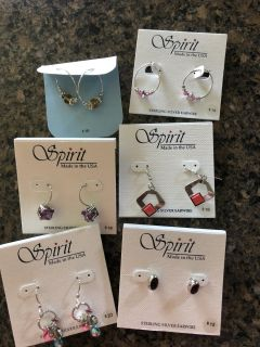 NWT earring group. 6 pairs. Sterling silver earwires. Ppu