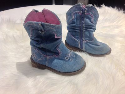 Vitange Toddler Girls Cowgirls Jeans Boots 6