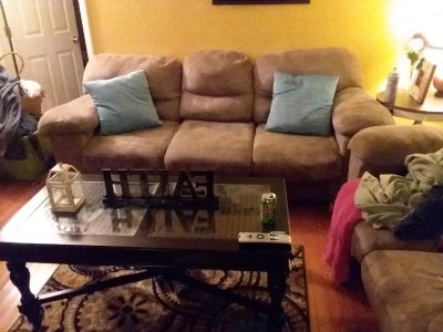 Gray suade couch & love seat for starting offer at 175 or best offer, First come first serve!