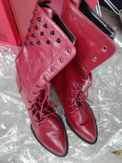 Brand New Red Leather high heel boots