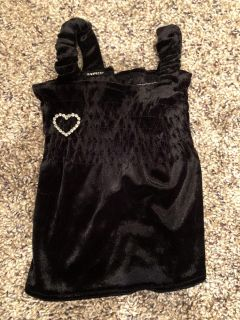 Black Velvet With Bling Heart Christmas NewYears Holiday Dress. Perfect Condition