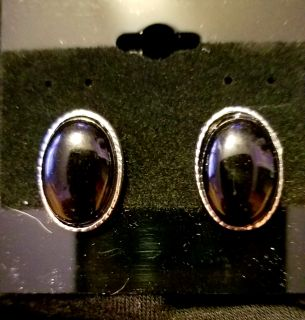 Oval Black Post Earrings- New