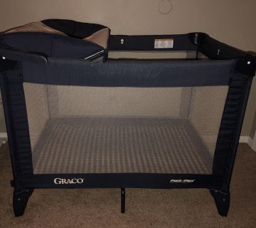 Graco Pack N Play with changing table insert and bonus Eddie Bauer thick quilted mattress pad