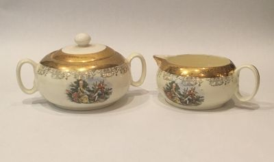 Antique Crest-O-Gold Hand Painted 22K Sugar and Creamer