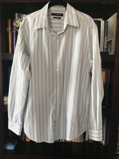 John Henry Modern Fit White button up top with light green and blue stripes, sz L