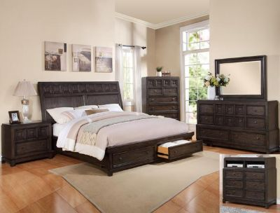 $2,050, --LOVELY 7 PC Asher Storage Queen Bedroom Suit