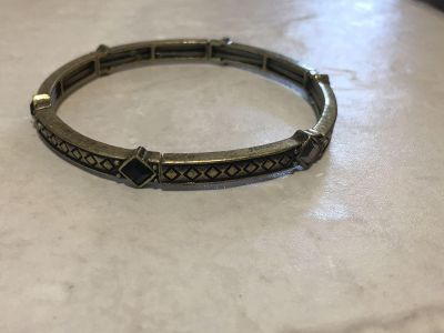 Antiqued Brass Crystal Inlay Bracelet Stretch