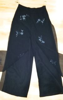 CECILY BROWN Black Beaded Evening Holiday Coctail Pants Size M