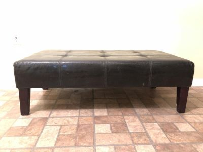 MOVING SALEContemporary Black Faux Leather Coffee Table w/Wood Legs 46 W x 15.5 H x 24 D ~ MOVING ~ OFFERS WELCOME FOR MEET TODAY!!!