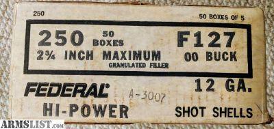 """For Sale: FEDERAL POWER-SHOK 12 GAUGE AMMO 2-3/4"""" 00 BUCKSHOT 9 PELLETS - F127 00"""