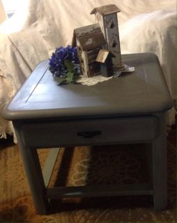Gray side table / end table with drawer
