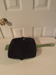 Green Square Enamel Cast Iron Grill Pan