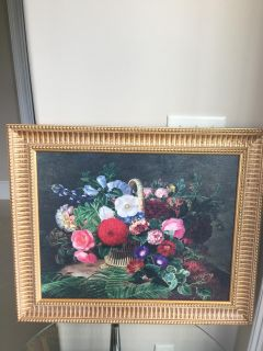 """23""""x 28"""" Basket of Flowers Framed Oil Painting on Canvas in Antique Style"""