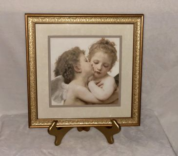 NEW. Angel Picture Gorgeous on Easel / Wall Gold frame, Double Mat, Ivory & Taupe.15 1/4 x 15 1/4