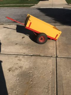 Yellow and Red, Wood and Metal, Cart for a Lawn Tractor