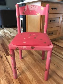 Hand painted pink cat chair. Great for desk or dresser or just extra chair