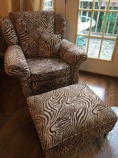 Zebra print arm chair & ottoman