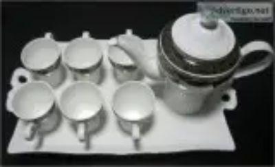 Black tea set with tray