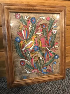 Rare Hand Painted Spanish/Indian/Mexican Influenced Colorful Bird and Flower Painting Art in Frame