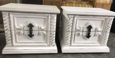 A pair of nightstands painted with Amy Howard Bahaus Buff