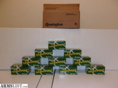 For Sale: 1 case 5000 rounds 22LR Thunderbolt remington 10/500 round boxes
