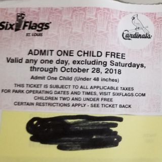 Six Flags Admit One Child Free Ticket (2 available