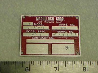 Purchase McCulloch Aircraft Drone Engine Data Plate Acid Etched 1940s- 1950s Army Air F motorcycle in Veradale, Washington, United States, for US $135.00