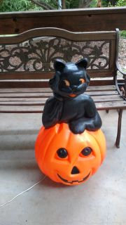 Large pumpkin with black cat blowmold