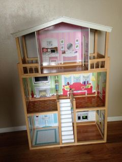 Large Wood Dollhouse (Barbie doll size) comes with some Barbie doll furniture and smaller furniture