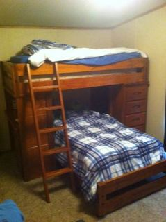 Twin size bunk beds OBO Like new New mattresses  Stained hardwood.