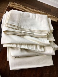 Pair of 96 Ivory Pottery Barn Curtains