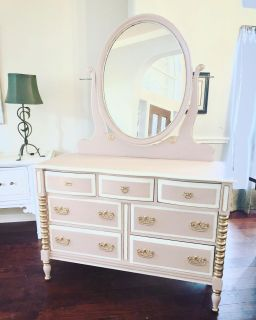 Vintage pink/white dresser w gold leaf. Very well made!