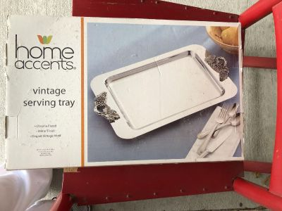 Chrome plated serving tray, new in box