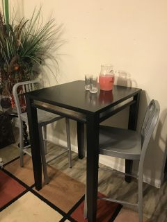 Pub Table and 2 Bar Chairs