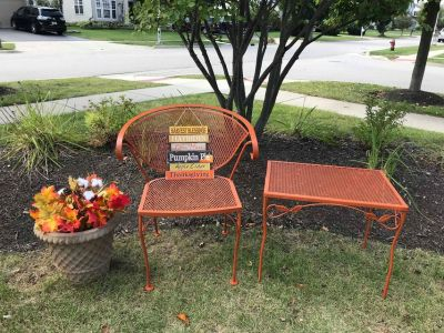 Adorable Freshly Painted Orange Wrought Iron Patio Set