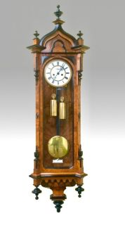 Very Fine Quality Burr Walnut and Black Double Weighted Antique Vienna Wall Clock