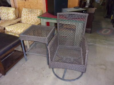 Two Piece Wicker Swivel Chair and End Table Set