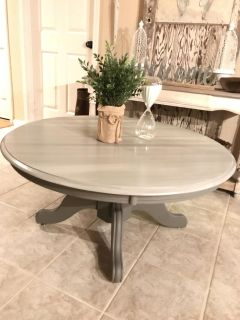 Round Solid Wood Pedestal Coffee Table (Xposted)