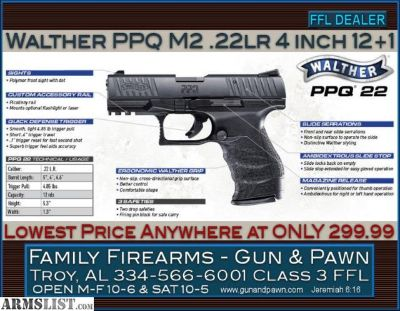 For Sale: Walther PPQ M2 .22LR Lowest Price on Planet Earth at ONLY 299.99