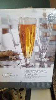 New footed pilsner glass set of 4