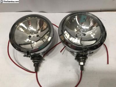 Vintage Chrome Guide Fog Lights 12V Pair
