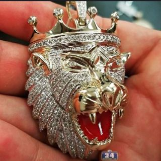 Large Goldtone Lion Head Pendant and Chain